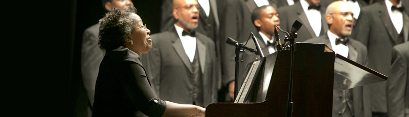 "<h3>DUKE AND DURHAM</h3><p>Duke's first black music major, Alma Jones, W '69, performs ""Lift Every Voice and Sing"" with the 100 Black Men choir during ""Duke Celebrates Durham: Where Great Things Happened in 1963.""</p><div class=""more_button""> <a href=""http://today.duke.edu/2013/10/galafinale#slideshow"" target=""_blank""> </a> </div>"