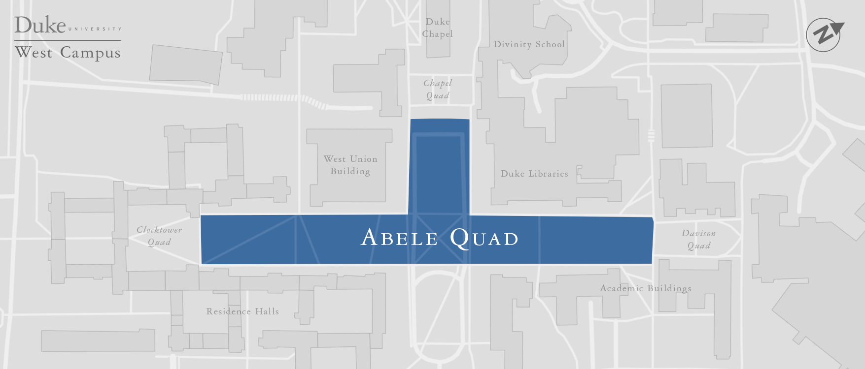 A map of the newly named Abele Quad on Duke University's West Campus