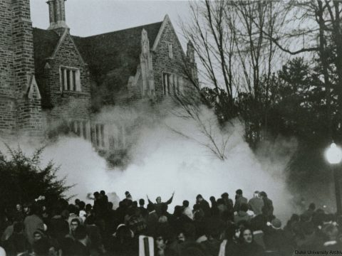 Scene shot from the southwest in the late afternoon showing the crowd being tear-gassed in the aftermath of the Takeover, after the students occupying the building had left it.