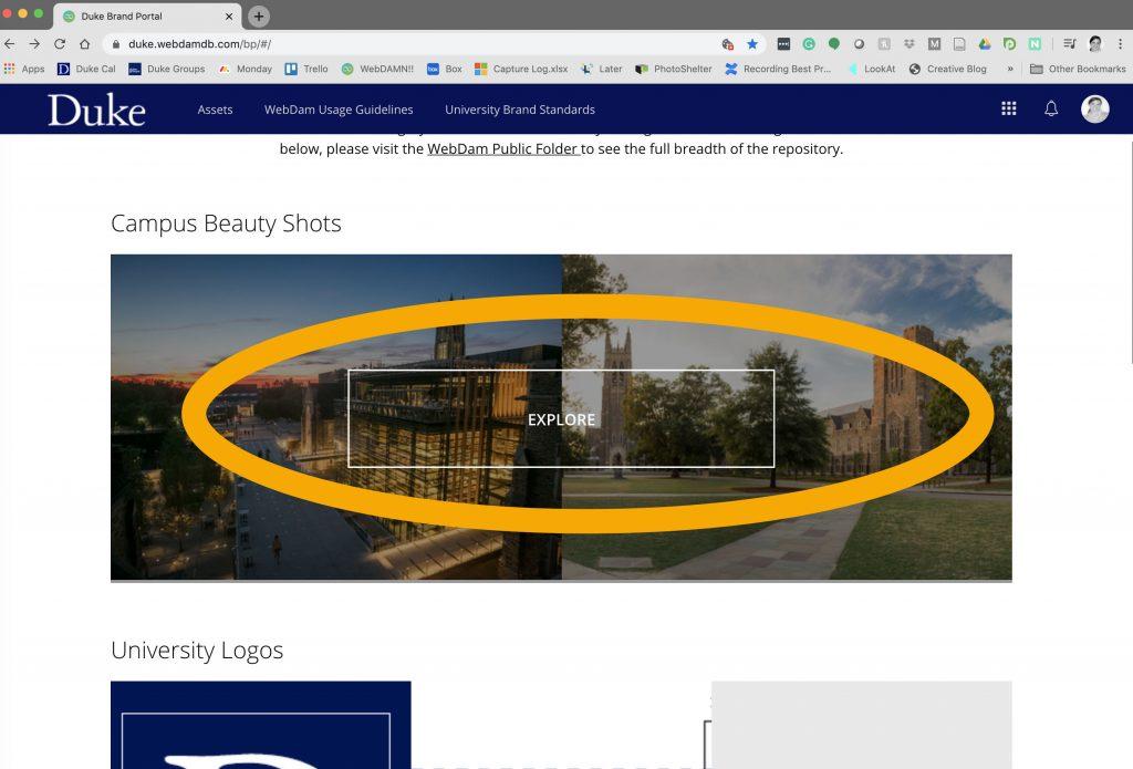 The image shows landing page for duke.webdamdb.com