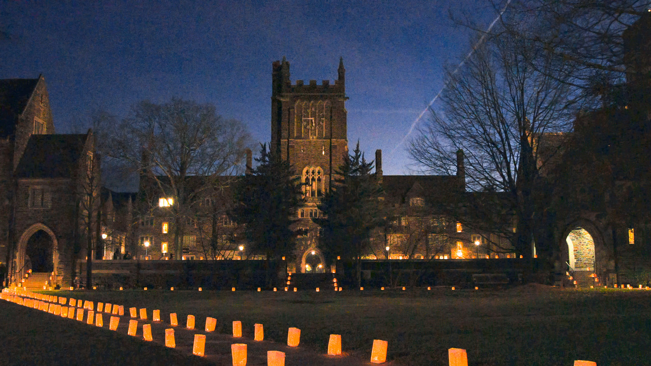 The University Communications team staged Duke's west campus's residential quads with luminaries for a hopeful holiday video message of peace and joy.