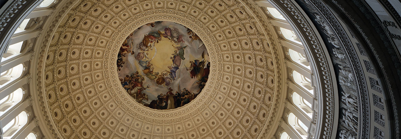 The ceiling inside the dome of the U.S. Capitol