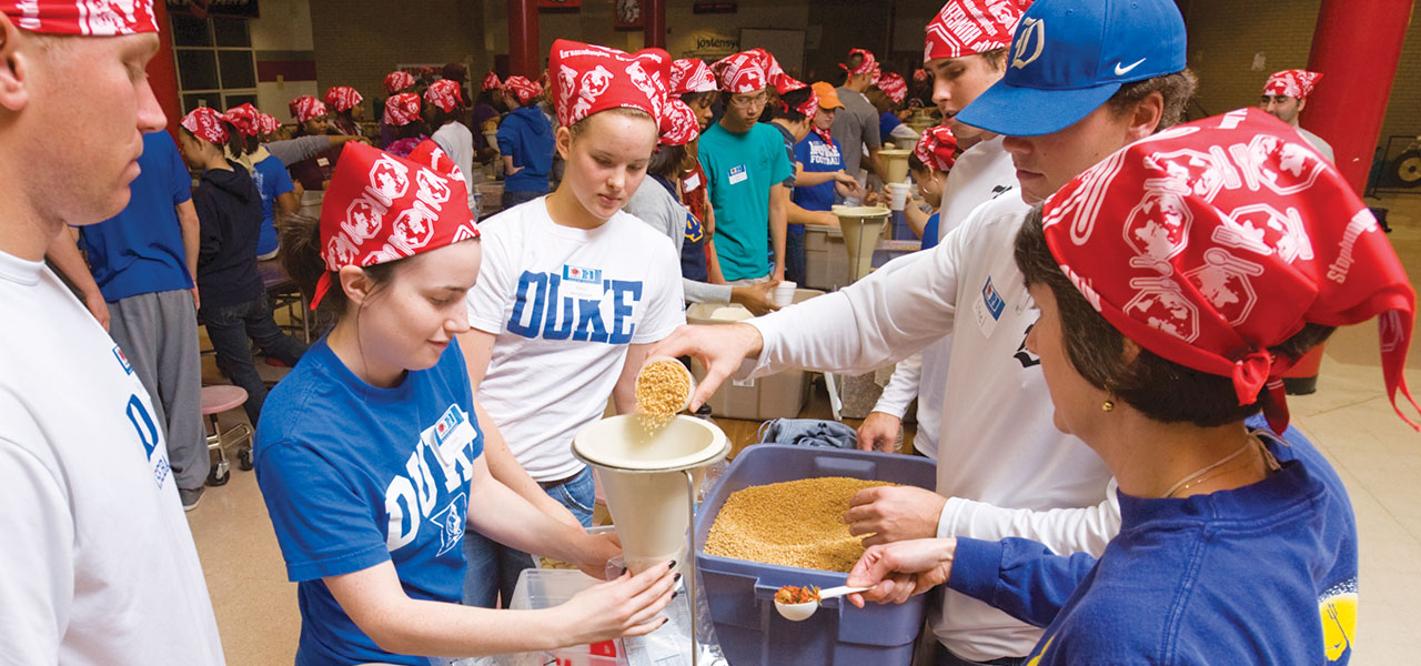 Duke students volunteer to pack meals for Stop Hunger Now